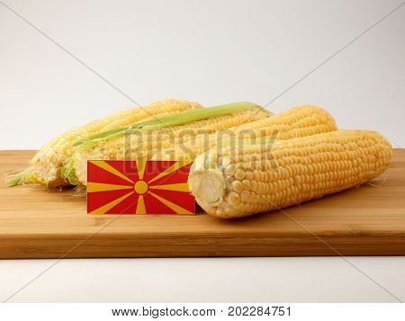 Macedonian Flag On A Wooden Panel With Corn Isolated On A White Background
