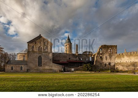 Ruins of old Bishop castle in Haapsalu. Summer autumn day, view from the yard.