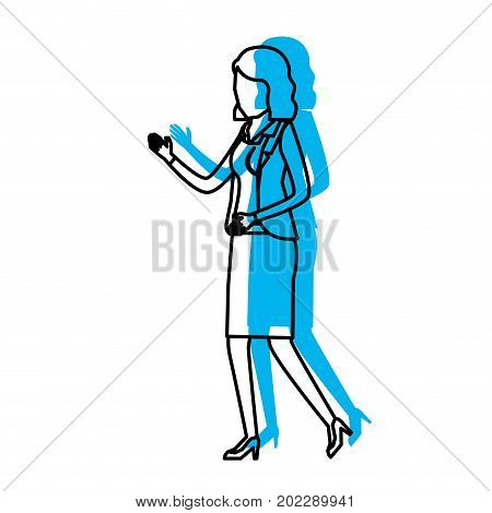 business woman faceless in jacket and skirt blue watercolor silhouette vector illustration