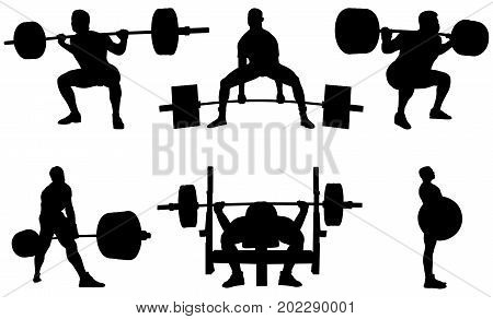 Set man powerlifting athletes powerlifters black silhouette