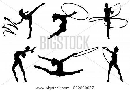 set girl rhythmic gymnastics silhouette. vector illustration