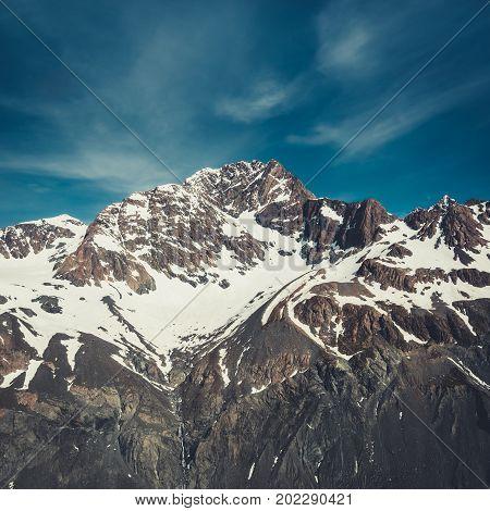 Winter Landscape Of Snow Mountain Range