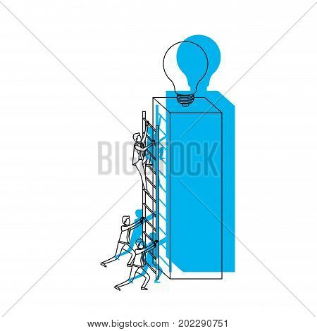 businessmen climbing wooden stairs in a big rectangular block with light bulb in the top blue watercolor silhouette vector illustration