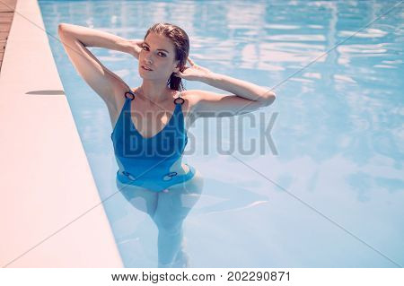 One Young Adult Woman, Posing, Standing Inside Of Swimming Pool, Looking To Camera, Wet Long Hair, H