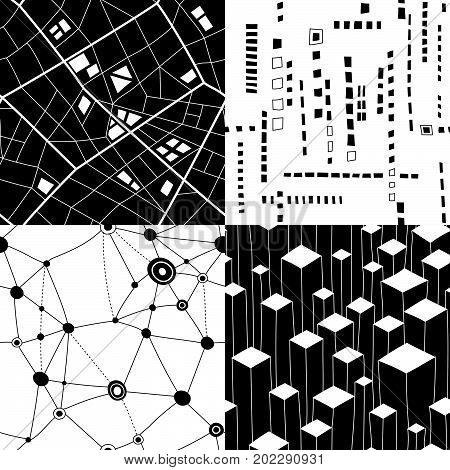 Set of four seamless black and white structures on theme of urban planning and maps.