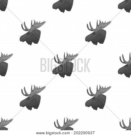 Head of an elk with horns. Canada single icon in monochrome style vector symbol stock illustration .