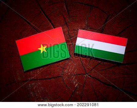 Burkina Faso Flag With Hungarian Flag On A Tree Stump Isolated