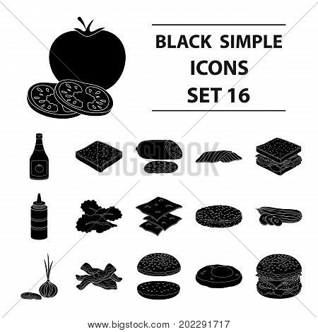 Rolls, cutlets, cheese, ketchup, salad, and other elements. Burgers and ingredients set collection icons in black style vector symbol stock illustration .