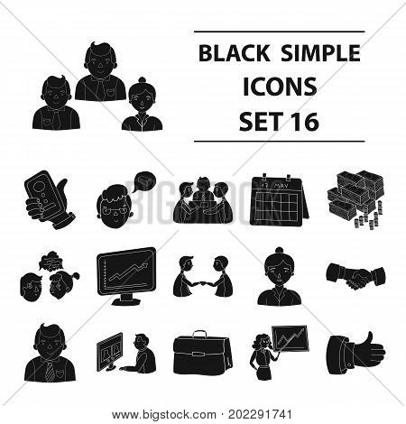Conference and negetiations set icons in black design. Big collection of conference and negetiations vector symbol stock illustration