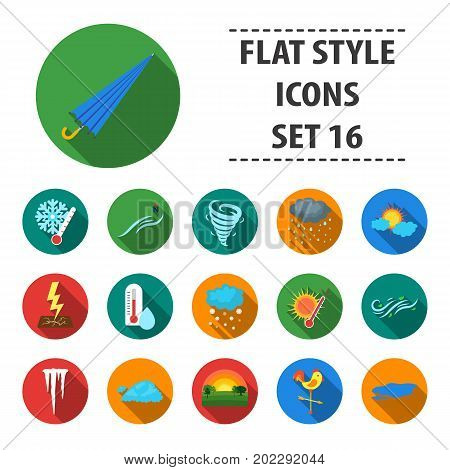Weather set icons in flat style. Big collection of weather vector symbol stock