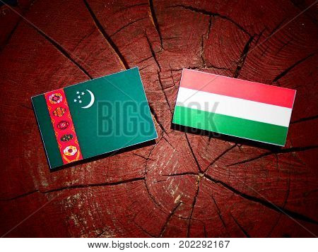 Turkmenistan Flag With Hungarian Flag On A Tree Stump Isolated