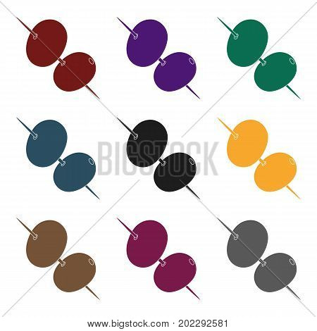 Black and green olives on skewers.Olives single icon in black style vector symbol stock illustration .