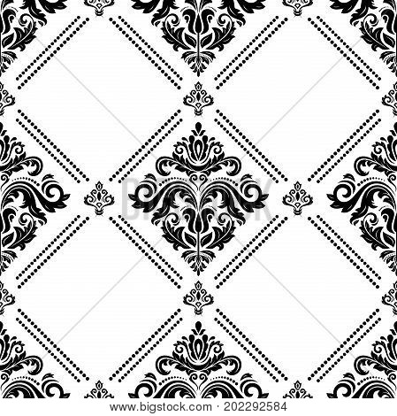 Oriental classic black and white pattern. Seamless abstract background with repeating elements. Orient background