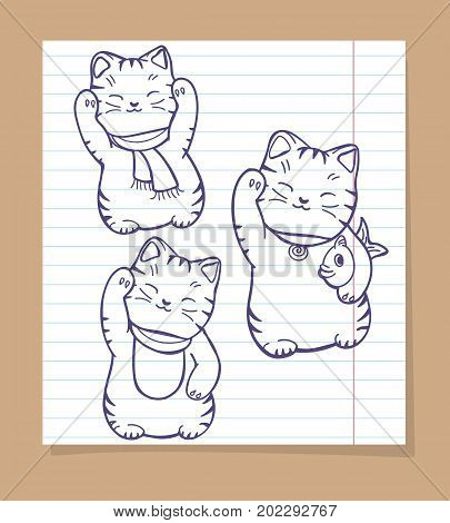 Cute japanese cats sketch. Vector maneki neko silhouettes set