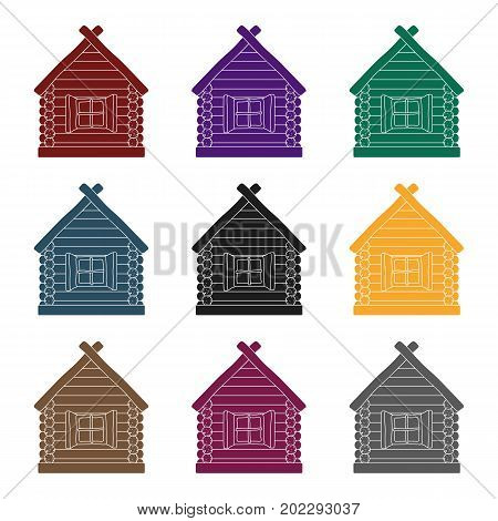 Wooden house icon in black design isolated on white background. Russian country symbol stock vector illustration.