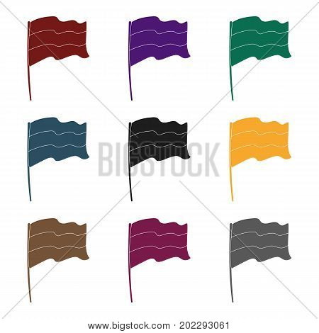 Russian flag icon in black design isolated on white background. Russian country symbol stock vector illustration.