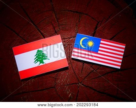 Lebanese Flag With Malaysian Flag On A Tree Stump Isolated