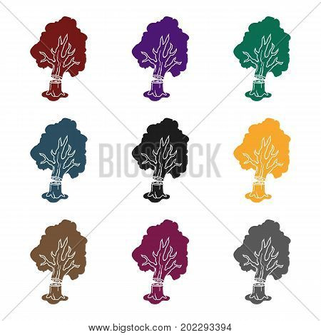 Falling tree icon in black style isolated on white background. Sawmill and timber symbol vector illustration.