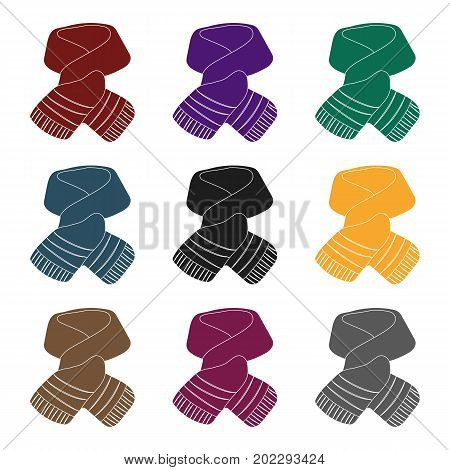 Stylish green scarf under a jacket.Scarves and shawls single icon in black style vector symbol stock web illustration.