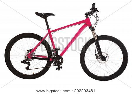 Green mountain bike isolated on white background.