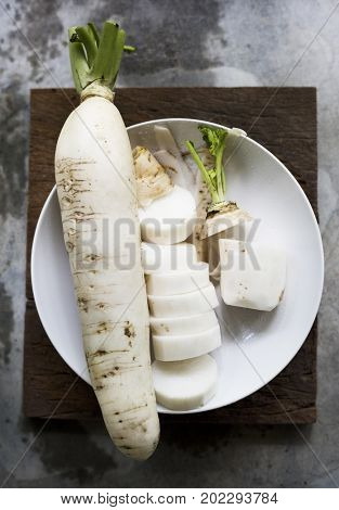 Aerial view of fresh chinese white radish