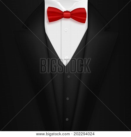 Illustration of Vector Black Suit with Bowtie. Realistic Mens Tuxedo Suit Succeed Businessman Concept
