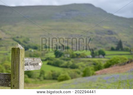 Signpost in Dunnerdale in the English Lake District