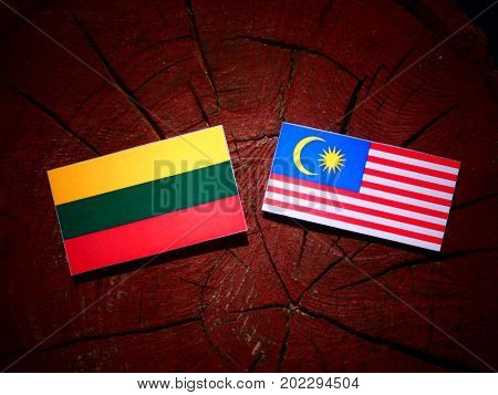 Lithuanian Flag With Malaysian Flag On A Tree Stump Isolated