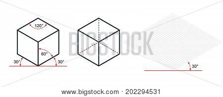 Isometric drawing a thirty degreesangle is applied to its sides. The cube opposite. Isometric Grid vector