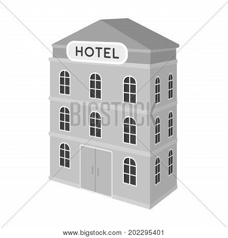 Three-storey hotel. Architectural building of the hotel single icon in monochrome style vector symbol stock illustration .