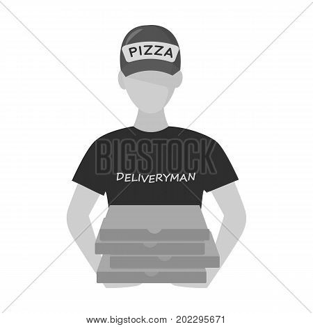 Courier on the delivery of pizza. Logistics and delivery single icon in monochrome style isometric vector symbol stock illustration .