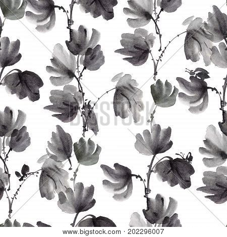 Watercolor and ink illustration of plant leaves with insects - bugs and cikada. Sumi-e u-sin painting. Seamless pattern.