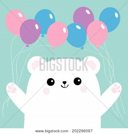 Polar white small little bear cub holding balloon set. Cute cartoon baby character icon. Arctic animal collection. Flat design Blue background Isolated. Vector illustration
