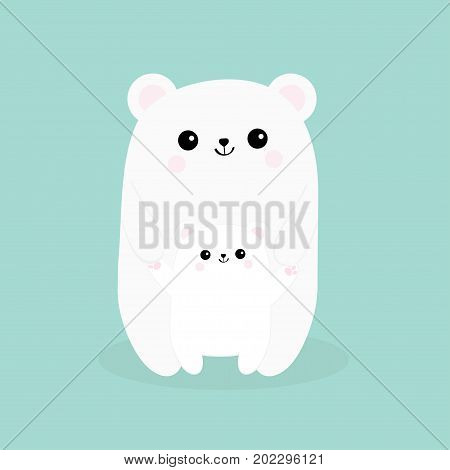 Polar white small little bear cub. Reaching for a hug. Cute cartoon character icon. Mother hugging baby. Arctic animal collection. Flat design. Winter blue background. Isolated. Vector