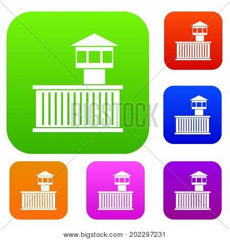 Prison tower set icon in different colors isolated vector illustration. Premium collection