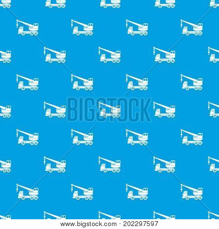 Truck crane pattern repeat seamless in blue color for any design. Vector geometric illustration