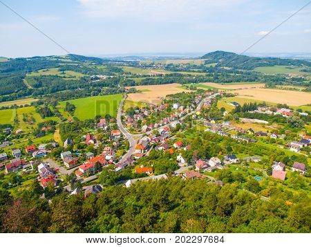 Aerial view of Stramberk, small medieval town in Moravia, Czech Republic.