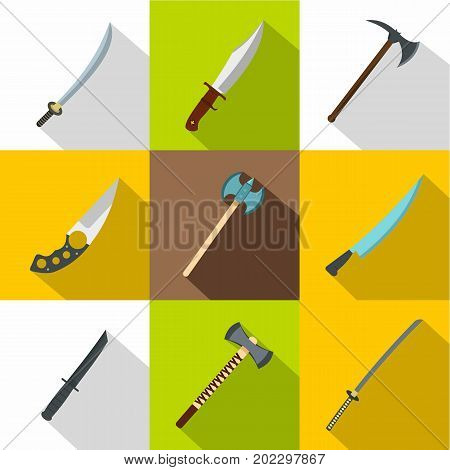 Cold weapon icon set. Flat style set of 9 cold weapon vector icons for web design