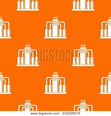 Oil refining pattern repeat seamless in orange color for any design. Vector geometric illustration