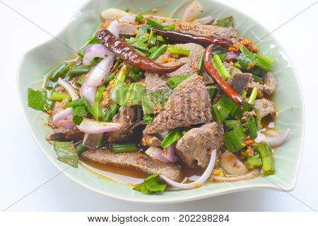 close-up pork liver spicy salad (Thai food)