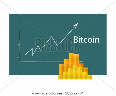 Bitcoin crypto currency stick graph chart of stock market investment trading, Bullish point, Bearish point. trend of graph vector desig