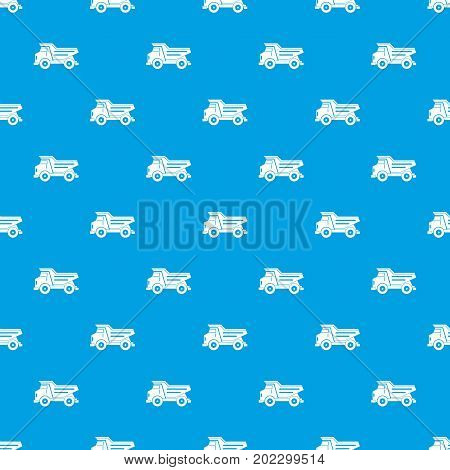Dump truck pattern repeat seamless in blue color for any design. Vector geometric illustration