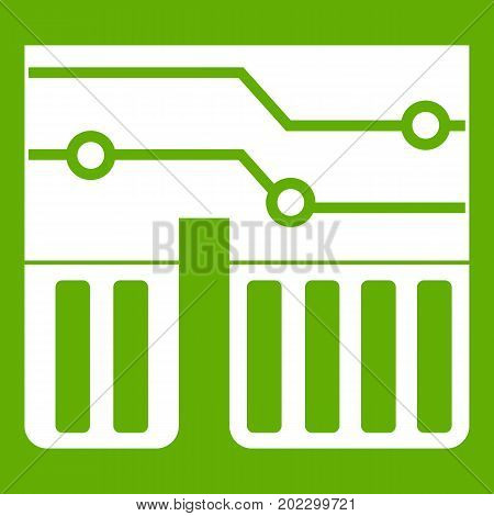 Computer chipset icon white isolated on green background. Vector illustration
