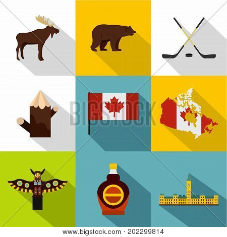 Canada icon set. Flat style set of 9 Canada vector icons for web design