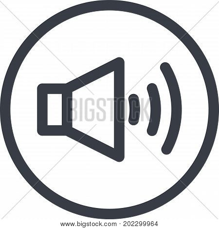Vector Icon of a sound on button in line art style. Pixel perfect. Player and multimedia icon.