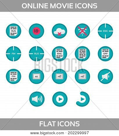 Media Player Icons Set. Multimedia. Isolated. Vector Illustration, pixel perfect set. Online movie theatre. Flat style without ounline