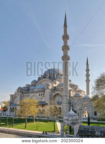 Istanbul Turkey - April 19 2017: Exterior day shot of Suleymaniye Mosque an Ottoman imperial mosque located on the Third Hill of Istanbul Turkey and the second largest mosque in the city. built in 1557