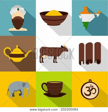 Travel to India icon set. Flat style set of 9 travel to India vector icons for web design