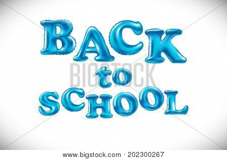 Back To School Background. Balloon Lettering, Colorful Text. Rounded, Semi-transparent, Bubble Lette
