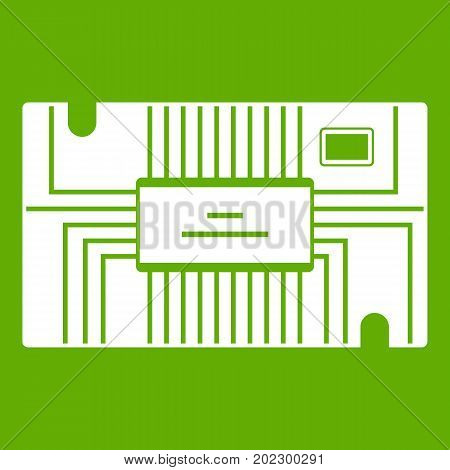 Microchip icon white isolated on green background. Vector illustration